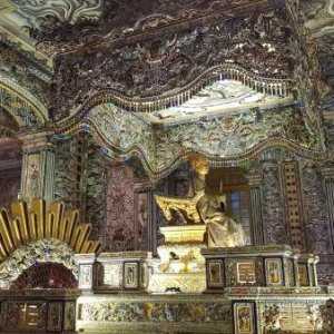 Khai Dinh Tomb, the royal tomb of the 12th emperor of the Nguyen Dynasty, emperor Khai Dinh. It is known as the most expensive and beautiful tomb in t